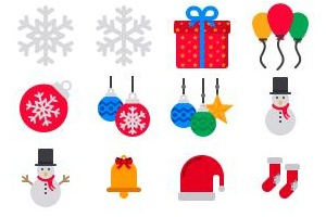 Coloured Christmas icons