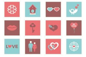 Valentine love post stamps Icons