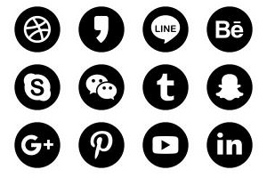 Rounded Solid Social Media set