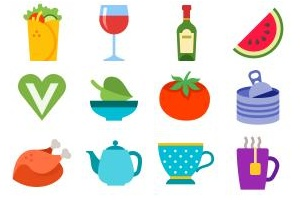 100 Colored Food & Drink Icons